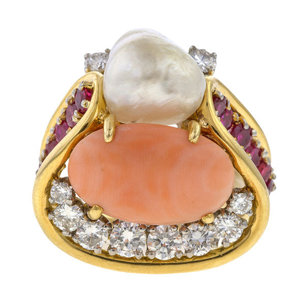 Vintage Coral, Pearl, Ruby & Diamond Ring