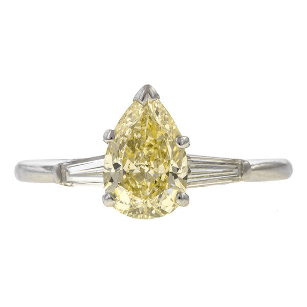 Vintage Pear Shaped Diamond Engagement Ring, 1ct. sold by Doyle & Doyle vintage and antique jewelry boutique.