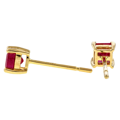 Square Ruby Stud Earrings sold by Doyle & Doyle vintage and antique jewelry boutique.