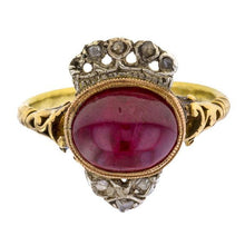 Antique Crowned Ruby & Diamond Ring sold by Doyle & Doyle a vintage and antique jewelry boutique.