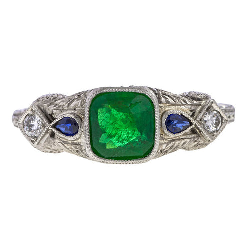 Art Deco Emerald, Sapphire & Diamond Ring