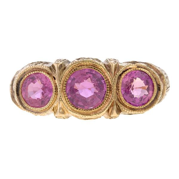 Estate Pink Sapphire Ring sold by Doyle & Doyle a vintage and antique jewelry boutique.
