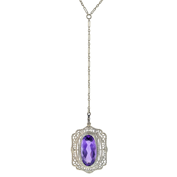 Vintage Filigree Amethyst Pendant Necklace