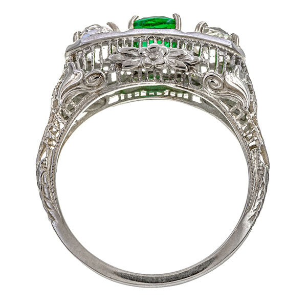Art Deco Emerald & Diamond Ring, 0.59ct. sold by Doyle & Doyle vintage and antique jewelry boutique.