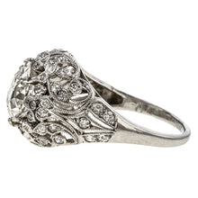 Edwardian Filigree Engagement Ring, Cushion 2.53ct. sold by Doyle & Doyle vintage and antique jewelry boutique.