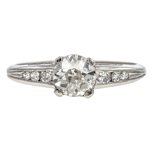 Vintage Engagement Ring, Old Euro 0.80ct. sold by Doyle & Doyle vintage and antique jewelry boutique.