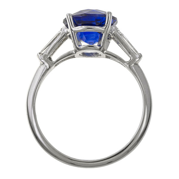 Tiffany & Co Vintage Sapphire & Diamond Ring, 3.65ct. sold by Doyle & Doyle vintage and antique jewelry boutique.