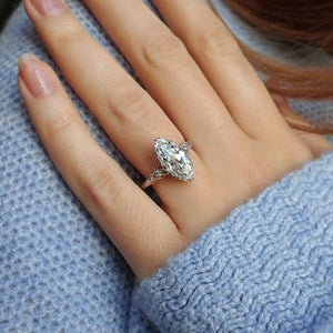 Vintage Marquise Cut Diamond Engagement Ring, 3.05ct.