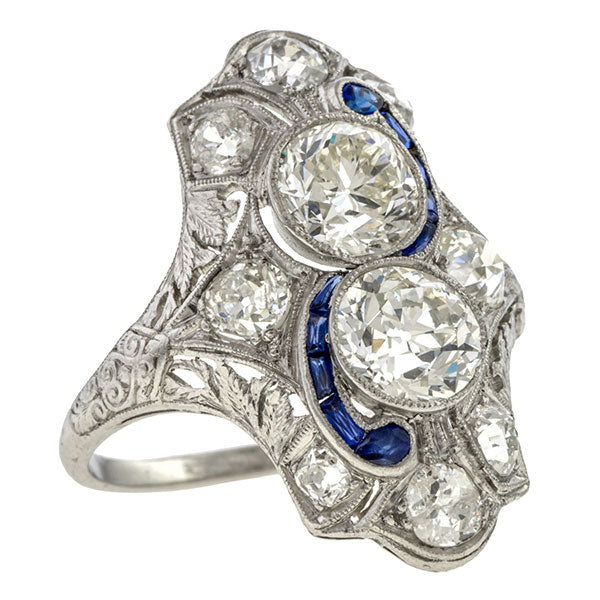 Art Deco Toi et Moi Dinner Ring, Circular 1.10, Euro 1.03 sold by Doyle & Doyle vintage and antique jewelry boutique.