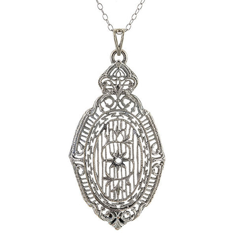Vintage Filigree Pendant sold by Doyle & Doyle vintage and antique jewelry boutique.