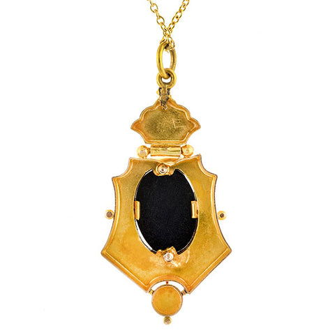 Victorian Onyx Pendant sold by Doyle & Doyle vintage and antique jewelry boutique.