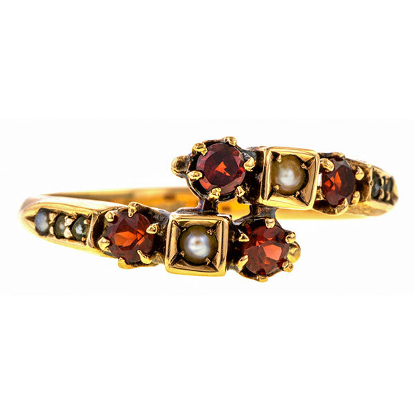 Vintage Garnet & Pearl Ring sold by Doyle & Doyle vintage and antique jewelry boutique.