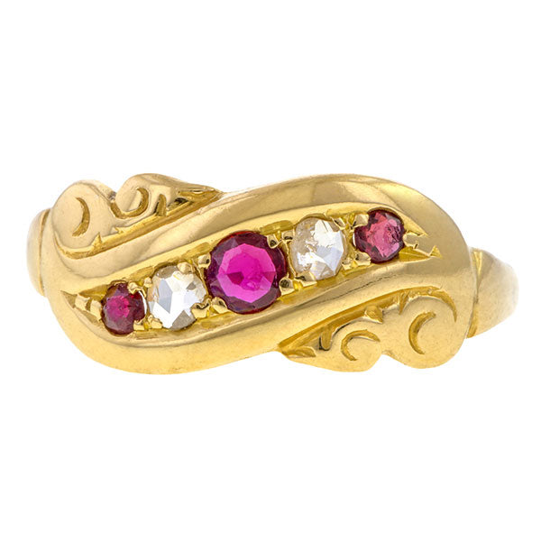Edwardian Ruby & Diamond Band sold by Doyle & Doyle vintage and antique jewelry boutique.