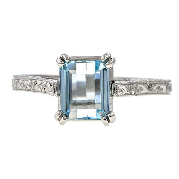 Estate Aquamarine Solitaire Ring sold by Doyle & Doyle and antiqye abd vintage jewelry boutique.
