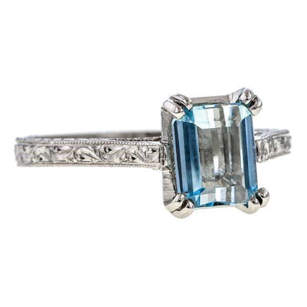 Estate Aquamarine Solitaire Ring sold by Doyle & Doyle and antique and vintage jewelry boutique.