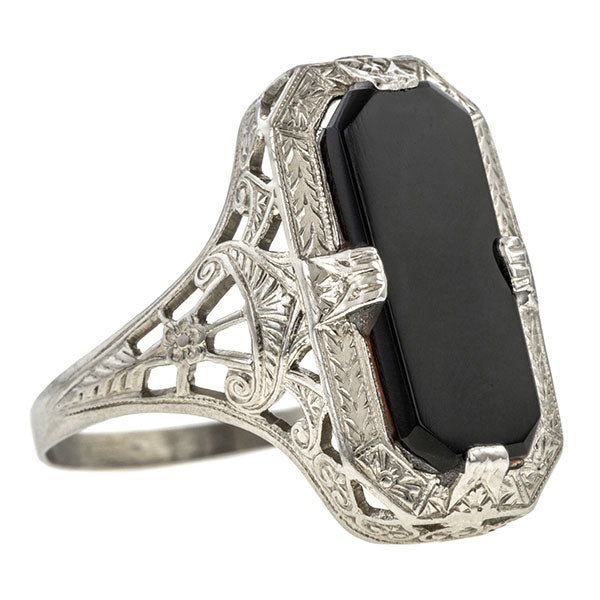 Filigree Onyx Ring sold by Doyle & Doyle vintage and antique jewelry boutique.