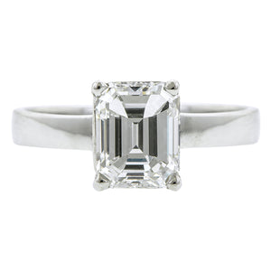 Solitaire Diamond Engagement Ring, Emerald cut; 1.70ct:: Doyle & Doyle
