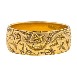 Antique Patterned Wedding Band sold by Doyle & Doyle vintage and antique jewelry boutique.