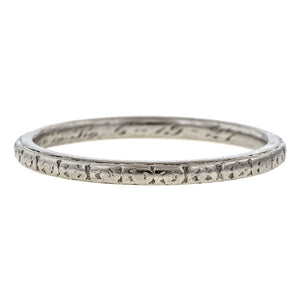 Vintage Patterned Wedding Band, Platinum sold by Doyle & Doyle vintage and antique jewelry boutique.