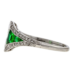 Art Deco Oval Brilliant Diamond & Emerald, 1.00ct. sold by Doyle & Doyle vintage and antique jewelry boutique.