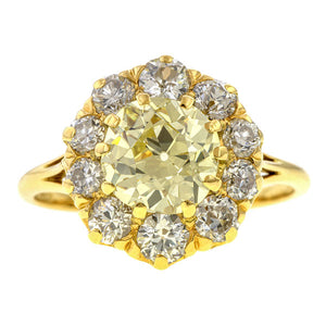 Victorian Light Yellow & White Diamond Ring, 2.34ct. sold by Doyle & Doyle vintage and antique jewelry boutique.