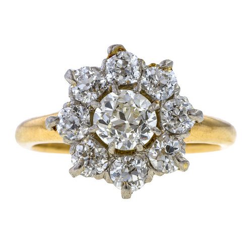 Antique Diamond Cluster Ring, Old Euro 0.33ct. sold by Doyle & Doyle vintage and antique jewelry boutique.