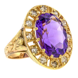 Antique Amethyst & Diamond Ring sold by Doyle & Doyle vintage and antique jewelry boutique.