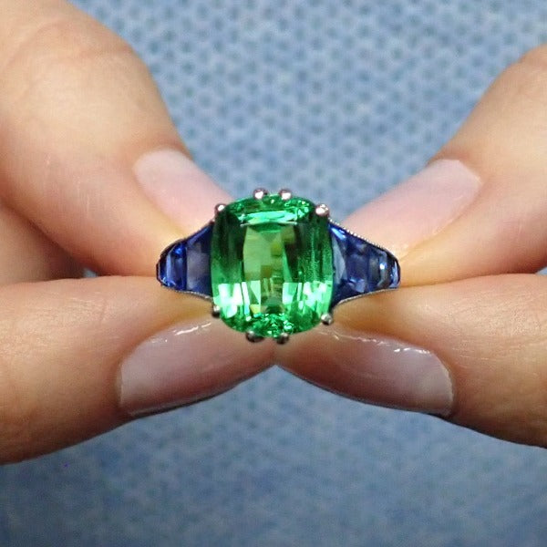 Estate Tsavorite & Sapphire Ring Set in platinum from Doyle & Doyle