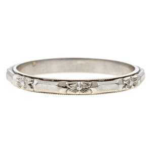 Art Deco Patterned Wedding Band sold by Doyle & Doyle vintage and antique jewelry boutique.