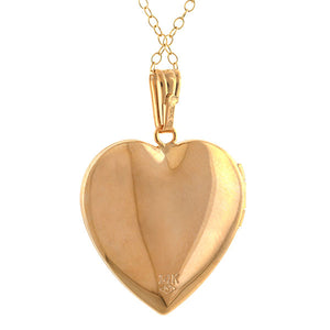 Mother of Pearl Heart Locket sold by Doyle & Doyle vintage and antique jewelry boutique.