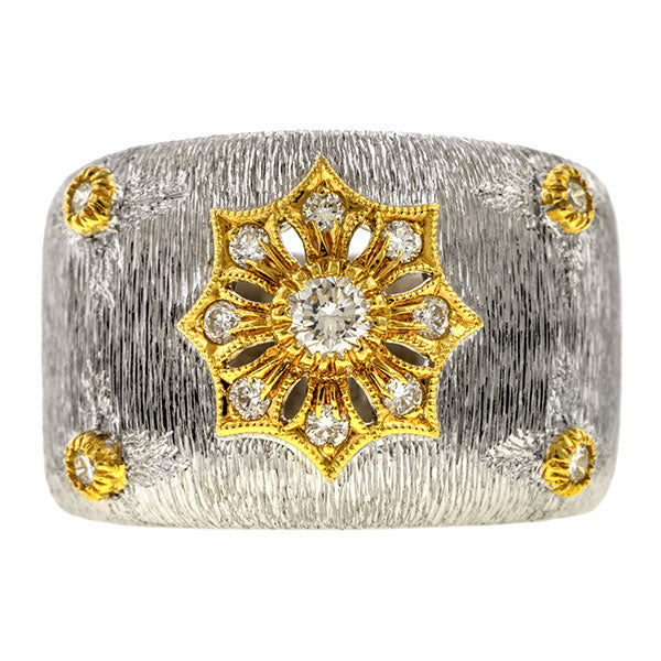 Vintage Diamond Wide Band sold by Doyle and Doyle an antique and vintage jewelry boutique.
