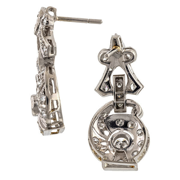Vintage Diamond Drop Earrings sold by Doyle & Doyle an antique and vintage jewelry boutique.