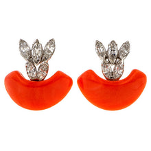Vintage Coral & Diamond Earrings sold by Doyle & Doyle an antique and vintage jewelry boutique.