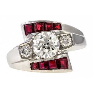 Retro Diamond & Ruby Bypass Ring sold by Doyle & Doyle vintage and antique jewelry boutique.