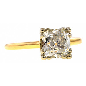 Vintage Solitaire Engagement Ring, Cushion 1.55ct. sold by Doyle & Doyle vintage and antique jewelry boutique.