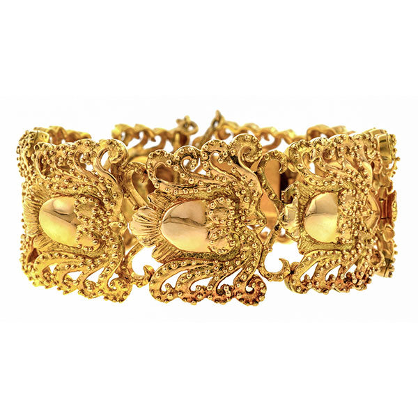Vintage Gold Link Bracelet sold by Doyle and Doyle an antique and vintage jewelry boutique.
