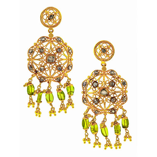 Vintage Indian Rose Cut & Peridot Drop Earrings sold by Doyle & Doyle an antique and vintage jewelry boutique.