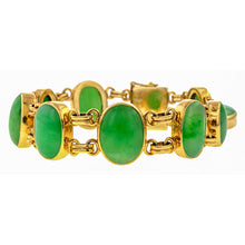 Vintage Cabochon Jade Link Bracelet sold by Doyle & Doyle an antique and vintage jewelry boutique.