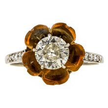 Vintage Diamond & Citrine Flower Ring, Old Euro. 0.93ct. sold by Doyle & Doyle vintage and antique jewelry boutique.