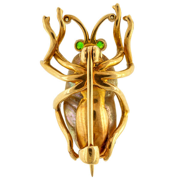 Vintage Pearl Insect Pin sold by Doyle and Doyle an antique and vintage jewelry boutique.