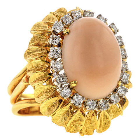 Vintage Coral & Diamond Ring sold by Doyle & Doyle vintage and antique jewelry boutique
