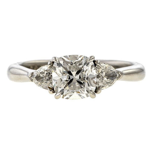 Vintage Engagement Ring, Cushion Cut 1.12ct. sold by Doyle & Doyle vintage and antique jewelry boutique.