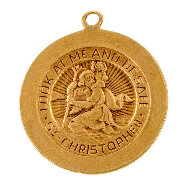 Vintage St. Christopher Charm sold by Doyle & Doyle an antique & vintage jewelry boutique.
