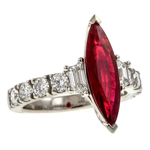 Ruby & Diamond Ring, MQ 2.10ct. sold by Doyle & Doyle vintage and antique jewelry boutique.
