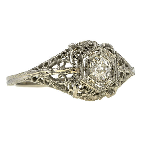 Art Deco Diamond Solitaire Ring, Old Euro. 0.17ct. sold by Doyle & Doyle vintage and antique jewelry boutique.