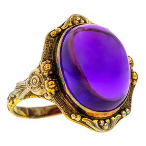 Vintage Amethyst Cabochon Ring sold by Doyle & Doyle antique & vintage jewelry boutique.