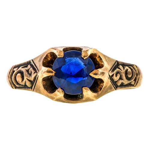 Art Deco Solitaire Ring, Sapphire 1.20ct. sold by Doyle & Doyle an antique & vintage jewelry boutique.