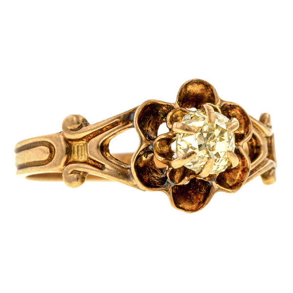 Vintage Solitaire Engagement Ring, Old Mine 0.50ct. sold by Doyle & Doyle vintage and antique jewelry boutique.