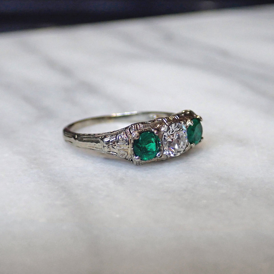 Vintage Diamond & Emerald Ring sold by Doyle and Doyle an antique and vintage jewelry boutique.