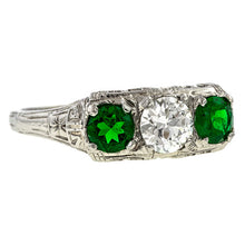 Vintage Diamond & Emerald Ring sold by Doyle & Doyle an antique and vintage jewelry boutique.